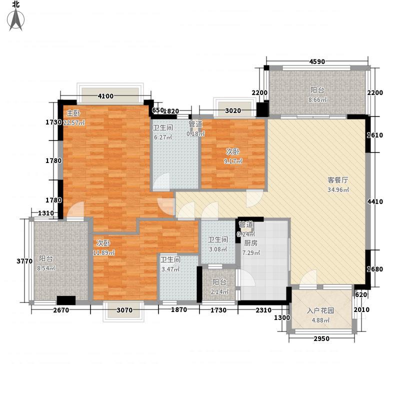 东方明珠138.80㎡15座标准层01户型3室2厅3卫