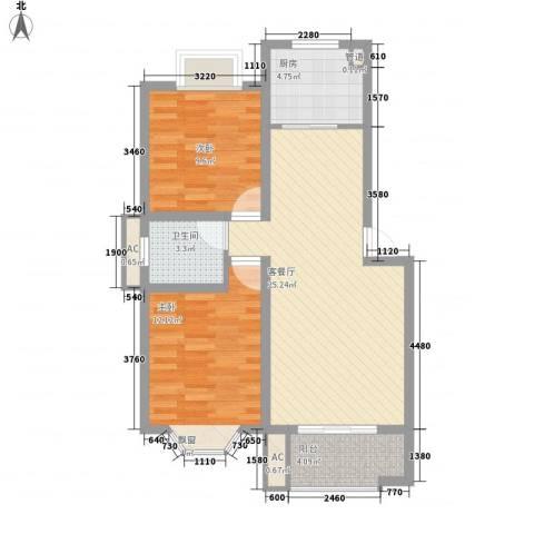 中天山语林居2室1厅1卫1厨88.00㎡户型图