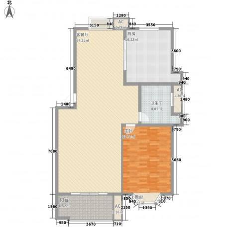 中天山语林居1室1厅1卫1厨170.00㎡户型图