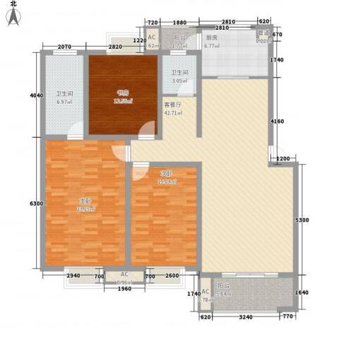 中天山语林居3室1厅2卫1厨171.00㎡户型图