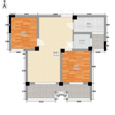 枫树园二期2室1厅1卫1厨91.00㎡户型图