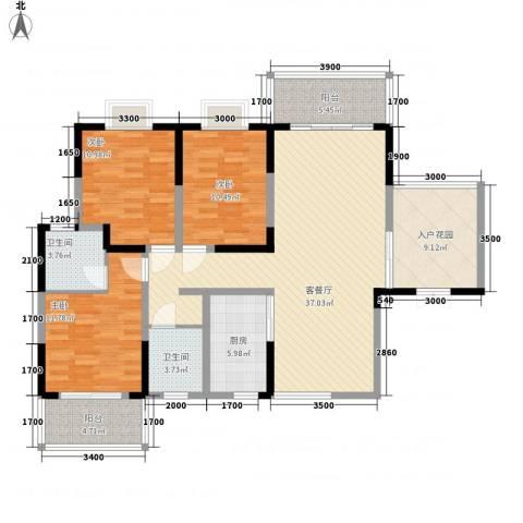 枫树园二期3室1厅2卫1厨147.00㎡户型图
