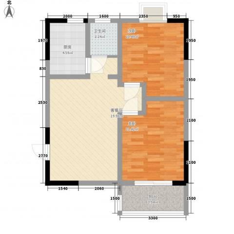 枫树园二期2室1厅1卫1厨76.00㎡户型图
