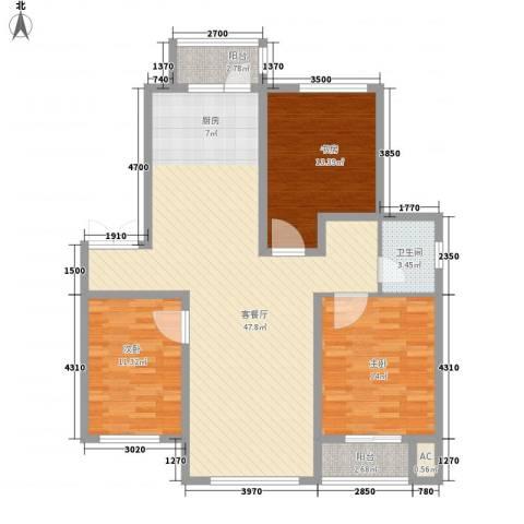 长电朗天国际3室1厅1卫0厨136.00㎡户型图