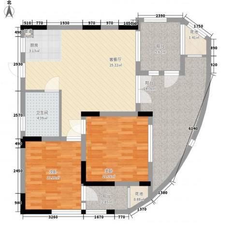 五指山圣河湾2室1厅1卫0厨90.33㎡户型图