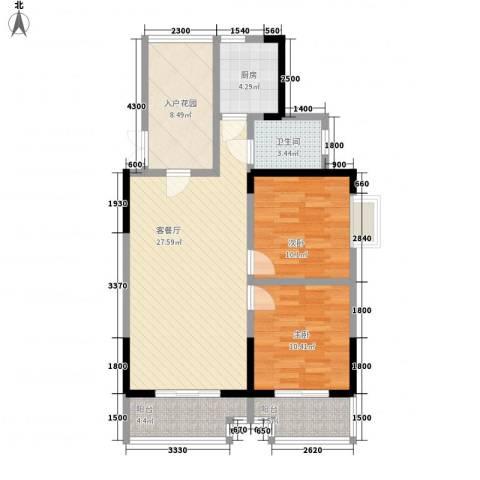 枫树园二期2室1厅1卫1厨101.00㎡户型图