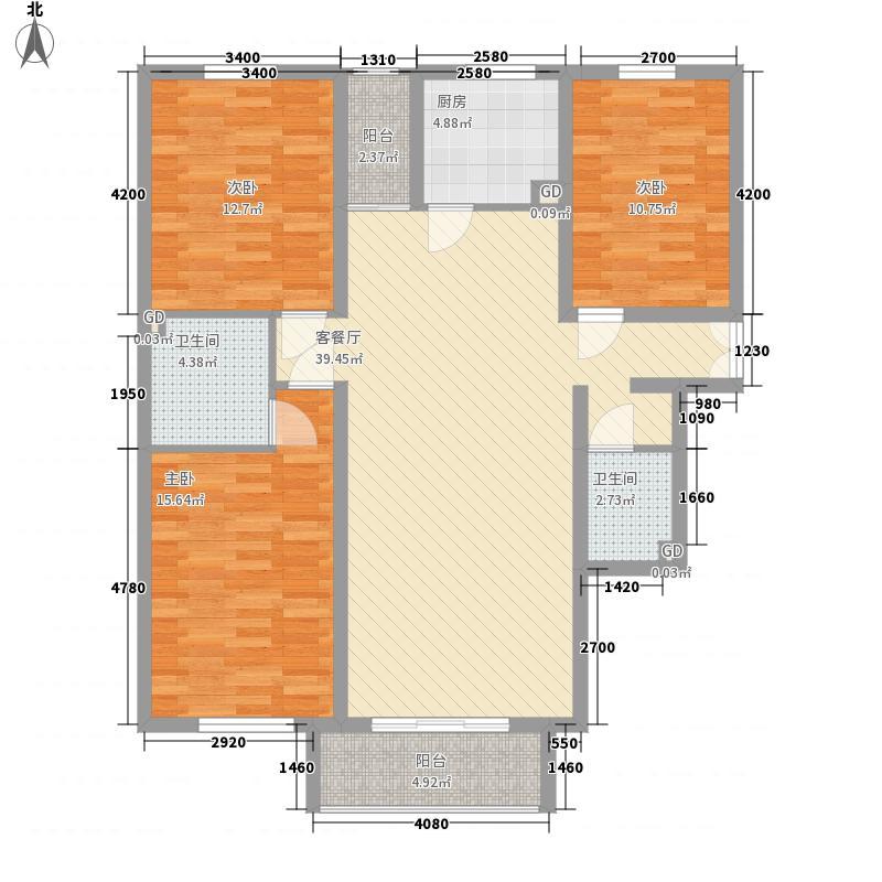 东岸春天里8号楼A型(已售完)户型3室2厅2卫1厨