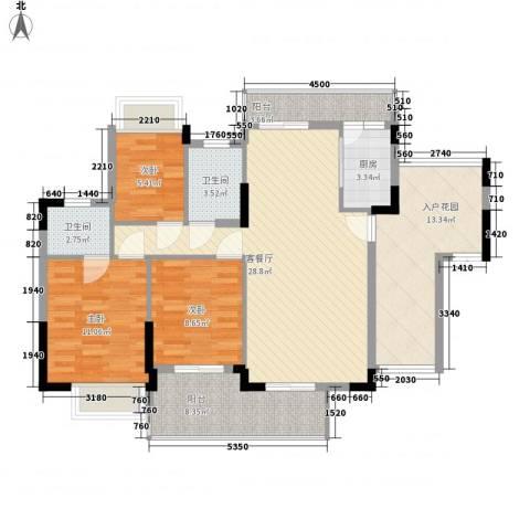 梦云南・雨林澜山3室1厅2卫1厨128.00㎡户型图