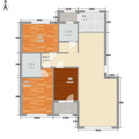 岭城一号3室1厅2卫1厨114.00㎡户型图