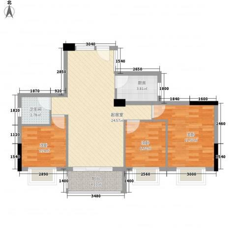 美景阁3室0厅1卫1厨86.00㎡户型图