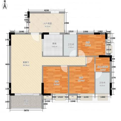 保利壹号公馆3室1厅2卫1厨130.00㎡户型图