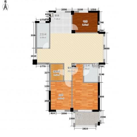 星汇半岛二期3室1厅2卫0厨126.00㎡户型图