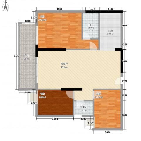 新城国际3室1厅2卫0厨105.27㎡户型图