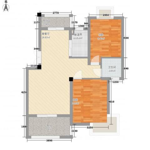 如意金水湾2室1厅1卫1厨62.15㎡户型图