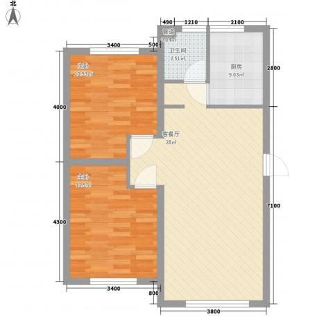 岭城一号2室1厅1卫1厨83.00㎡户型图