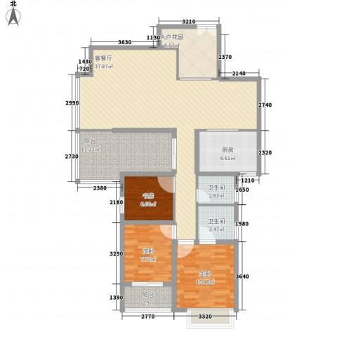 海晟维多利亚3室1厅2卫1厨137.00㎡户型图
