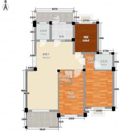 如意金水湾3室1厅2卫1厨126.00㎡户型图
