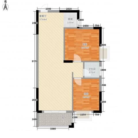 新城国际2室1厅1卫0厨87.00㎡户型图