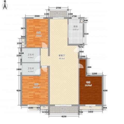 都市・心海岸3室1厅2卫1厨161.00㎡户型图