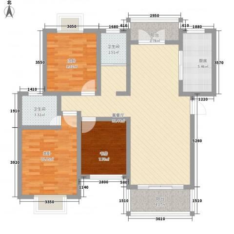 侨康苑3室1厅2卫1厨116.00㎡户型图