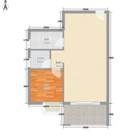 新城国际1室1厅1卫1厨64.00㎡户型图