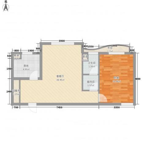 宏城金棕榈1厅1卫1厨79.00㎡户型图