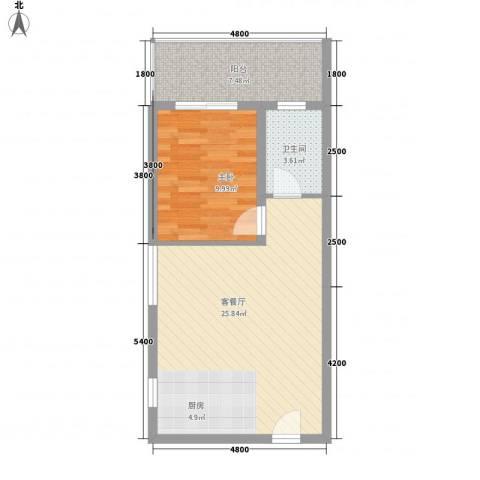 新城国际1室1厅1卫0厨46.93㎡户型图