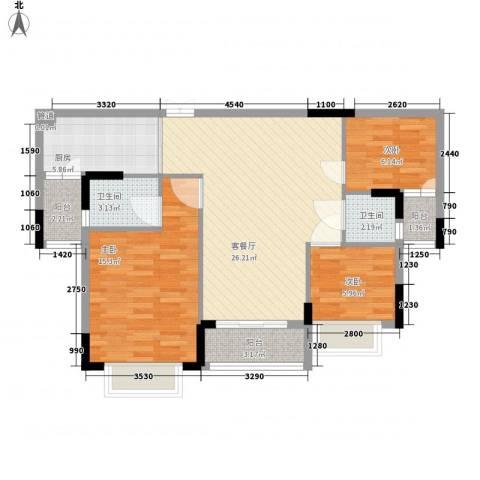 梦云南・雨林澜山3室1厅2卫1厨103.00㎡户型图