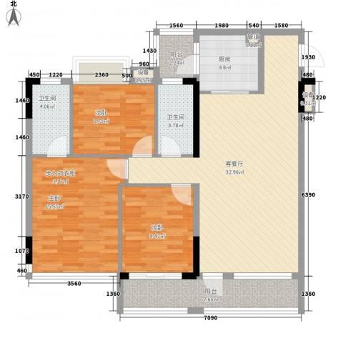 现代城・假日花园3室1厅2卫1厨127.00㎡户型图