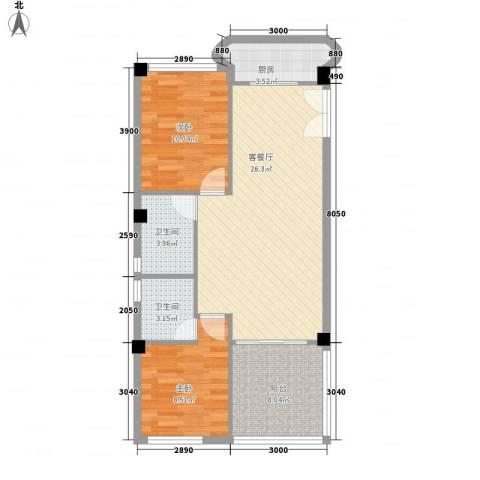 庄园丽都2室1厅2卫1厨89.00㎡户型图