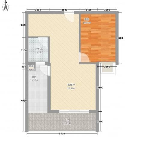 新城国际1室1厅1卫1厨68.00㎡户型图