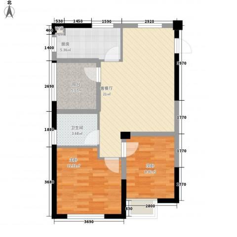 融绿理想湾2室1厅1卫1厨81.00㎡户型图