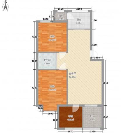 岭城一号3室1厅1卫1厨80.02㎡户型图