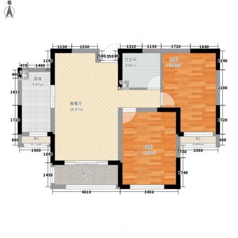 新湖印象江南二期2室1厅1卫1厨102.00㎡户型图