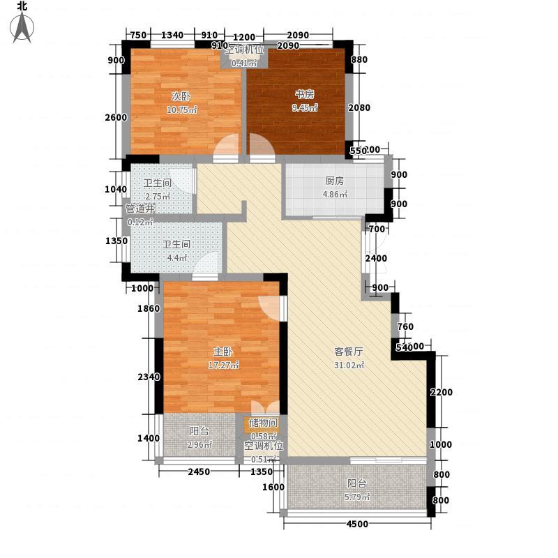 紫玉山庄109.49㎡401、404室户型3室2厅2卫1厨