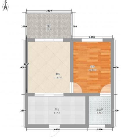 吉粮康城1室1厅1卫1厨58.00㎡户型图
