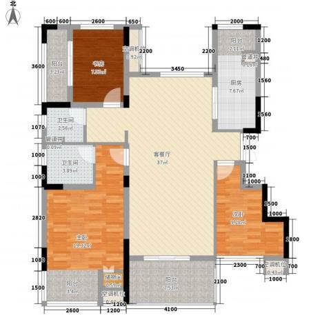 紫玉山庄3室1厅2卫1厨117.00㎡户型图