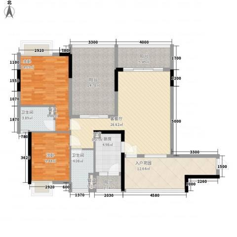 金泓・财富公馆2室1厅2卫1厨98.13㎡户型图