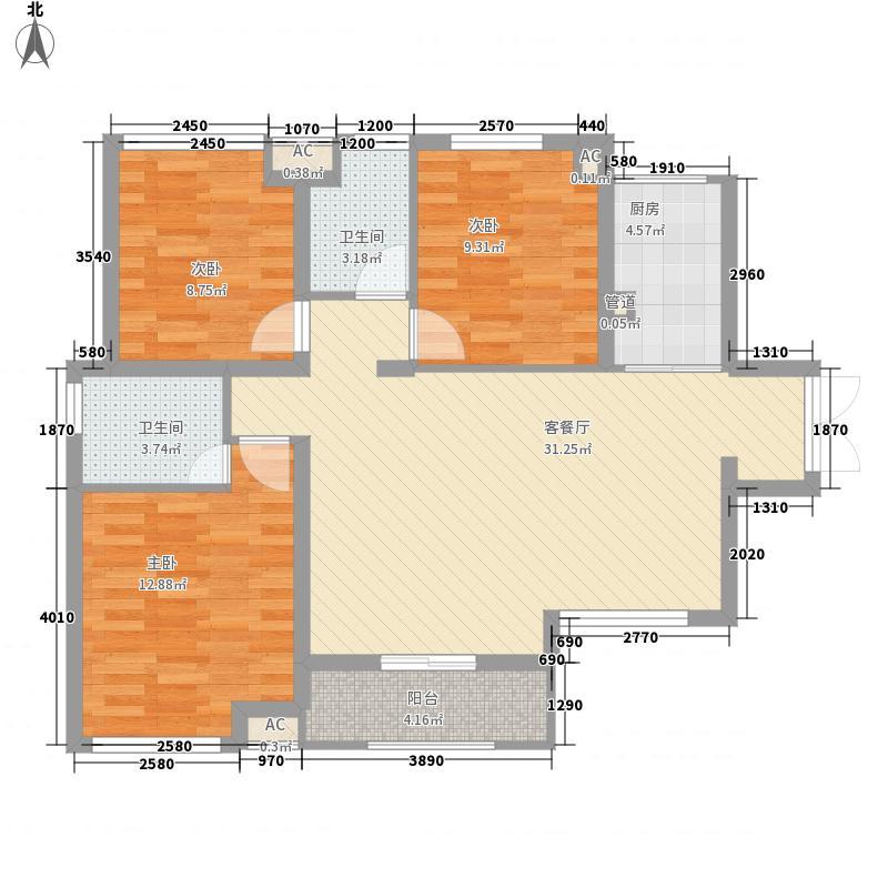 保利春天大道114.00㎡22、23、25号楼2-18层3号房户型3室2厅2卫1厨