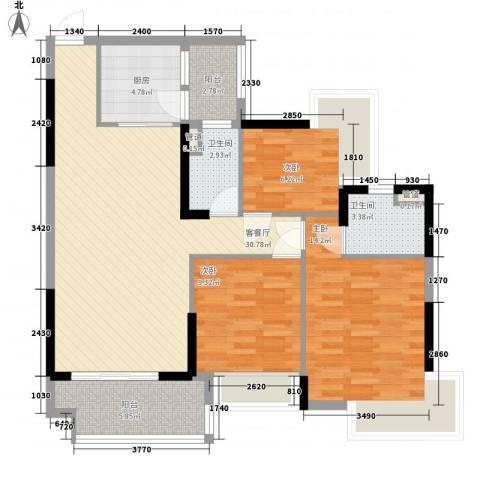 清远奥园3室1厅2卫1厨116.00㎡户型图