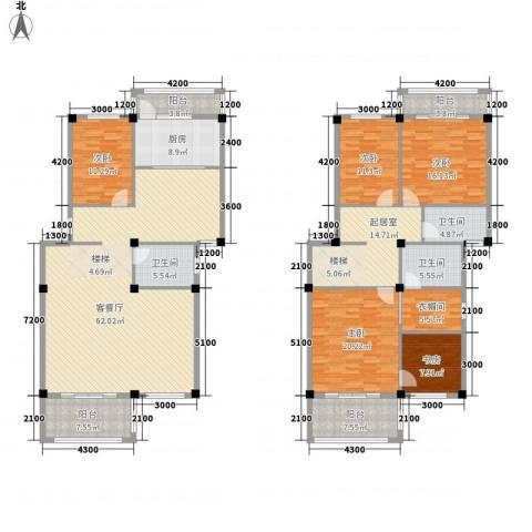 东辰阳光清华5室1厅3卫1厨232.00㎡户型图