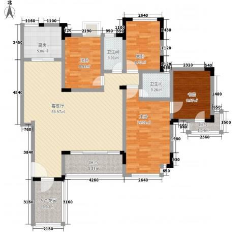 苹果园・幸福城4室1厅2卫1厨154.00㎡户型图