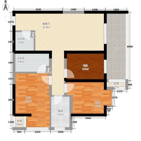 翡翠明珠3室1厅2卫1厨78.29㎡户型图