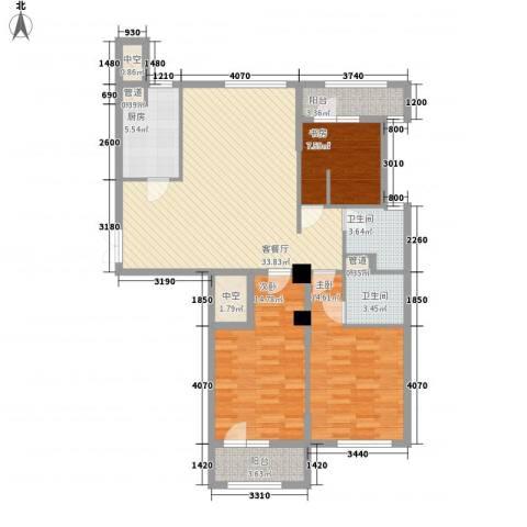 绿城皇冠花园3室1厅2卫1厨136.00㎡户型图