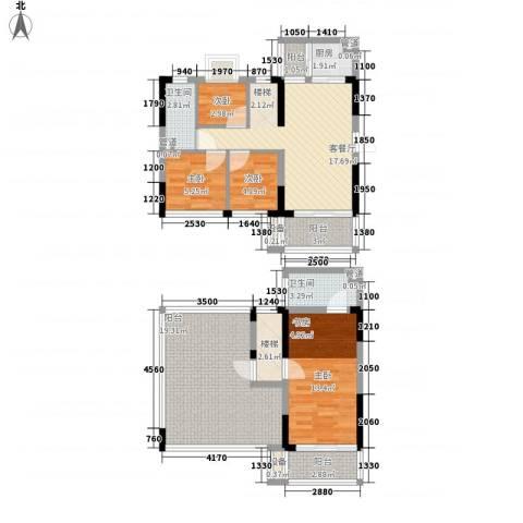 金碧丽江东第4室1厅2卫1厨122.00㎡户型图