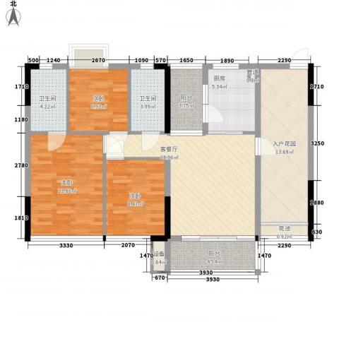 金碧丽江东第3室1厅2卫1厨85.37㎡户型图