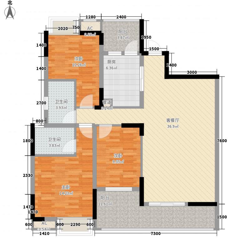 北京路1号126.59㎡2单元5号房户型3室2厅2卫1厨