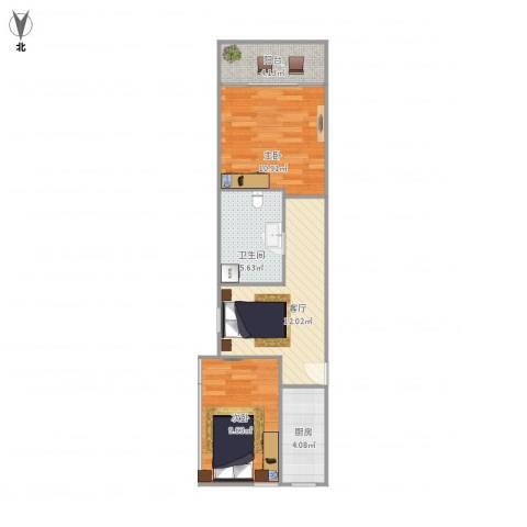 曹阳五村2室1厅1卫1厨63.00㎡户型图
