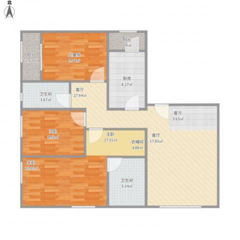 保利金泉3室1厅2卫1厨90.25㎡户型图