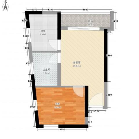月光蝴蝶花园1室1厅1卫1厨59.00㎡户型图